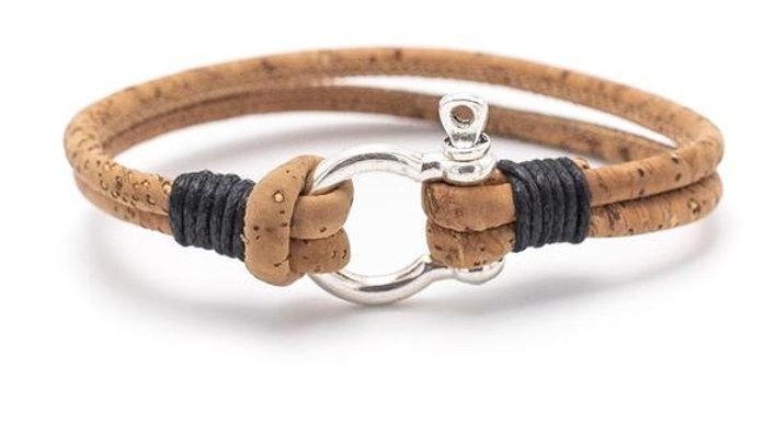 Handmade Horseshoe Clasp Natural cork bracelet