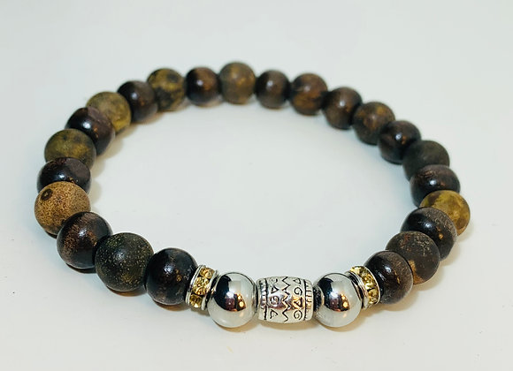 Stunning Dark Wood and Agate Stone Stretch Bracelet with Swarovski Deco