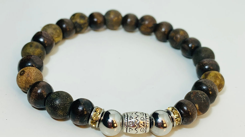 Stunning Dark Wood and Agate Stone Stretch Bracelet with Swarovski Deco