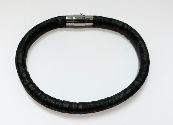 Black Faux Leather Bracelet with Stainless Steel Clasp