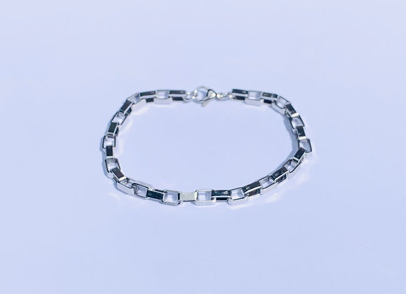 Stainless Steel Oblong Link Bracelet