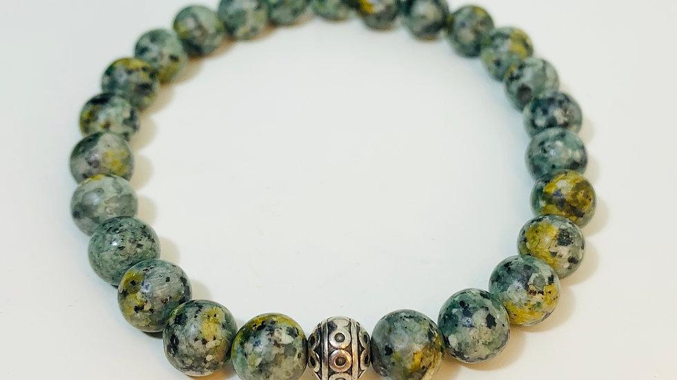 Natural Mottled Green Agate Stone Stretch Bracelet