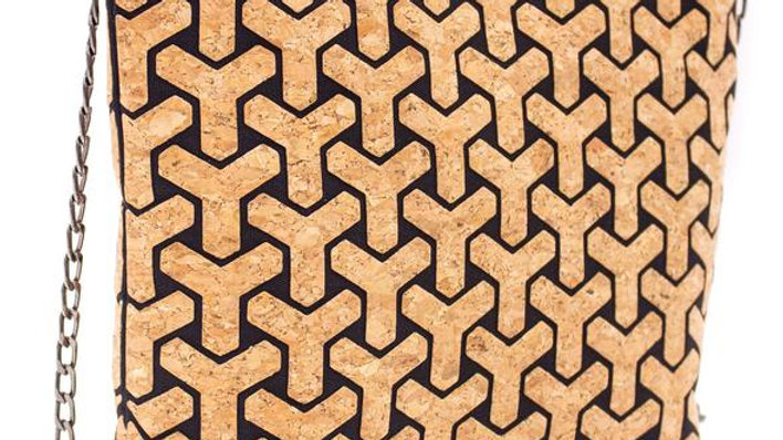 Natural Cork Geometric Y Crossbody Bag