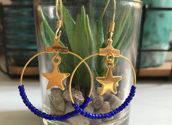 Gold Hoops with Midnight Blue Vintage Glass beads and Gold Stars