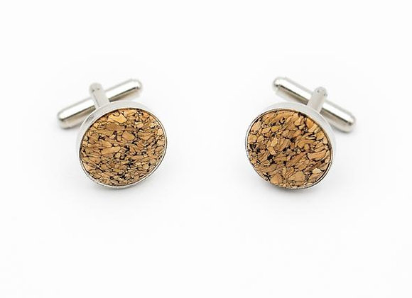 Stainless Steel and Cork Cuff Links