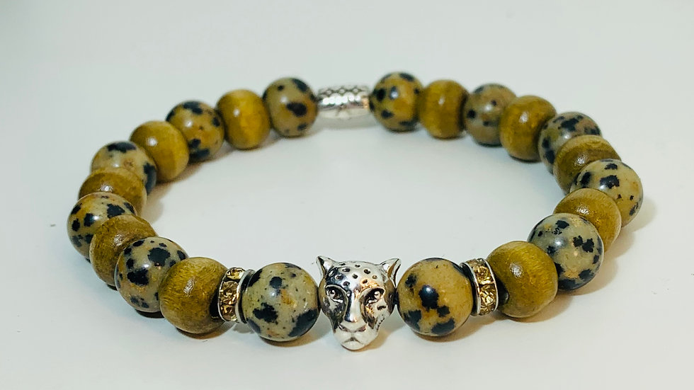Stunning Leopard Stone and Wood Bead Stretch Bracelet