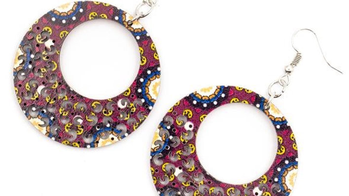 Cork Patterned Circle Earrings