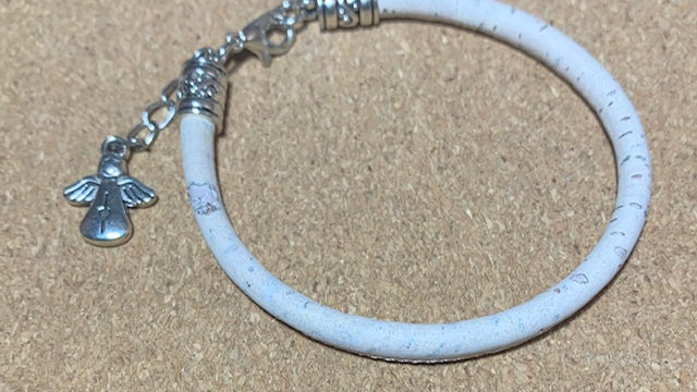 Natural White Cork Bracelet with Angel Charm