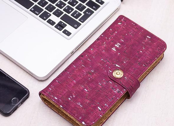 Claret Pink and Silver Cork Purse