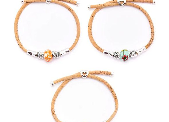 Adjustable cork bracelet with silver and ceramic beads