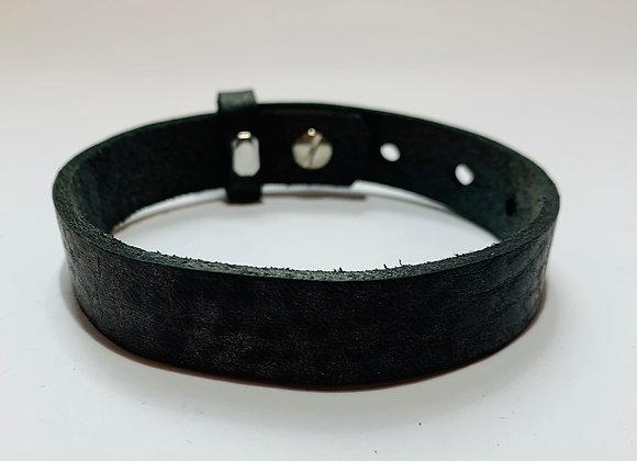 Adjustable Black Nubuck Leather Bracelet