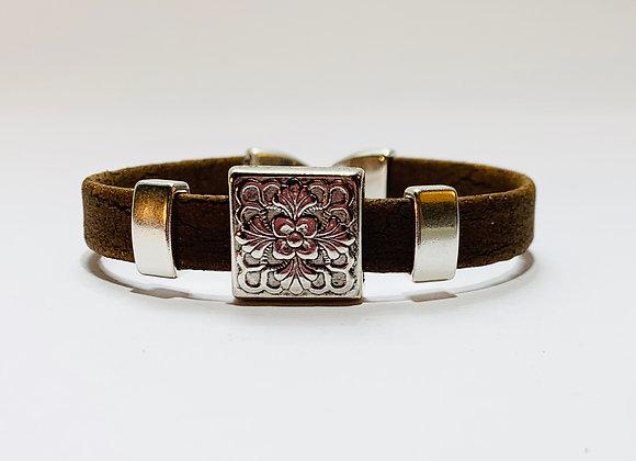 Brown Natural Cork Bracelet with Silver Decorative Sliders