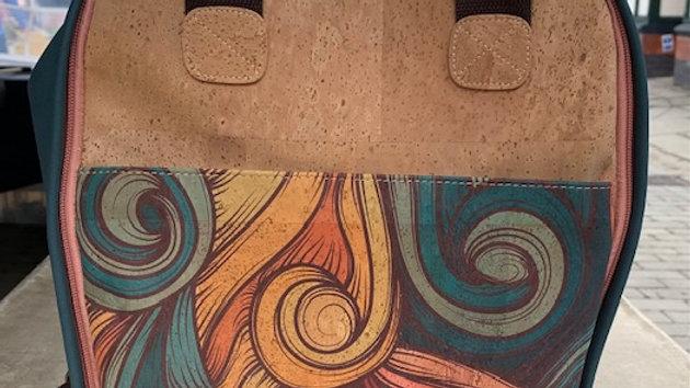 Natural Cork and Wave Patterned Laptop Back Pack
