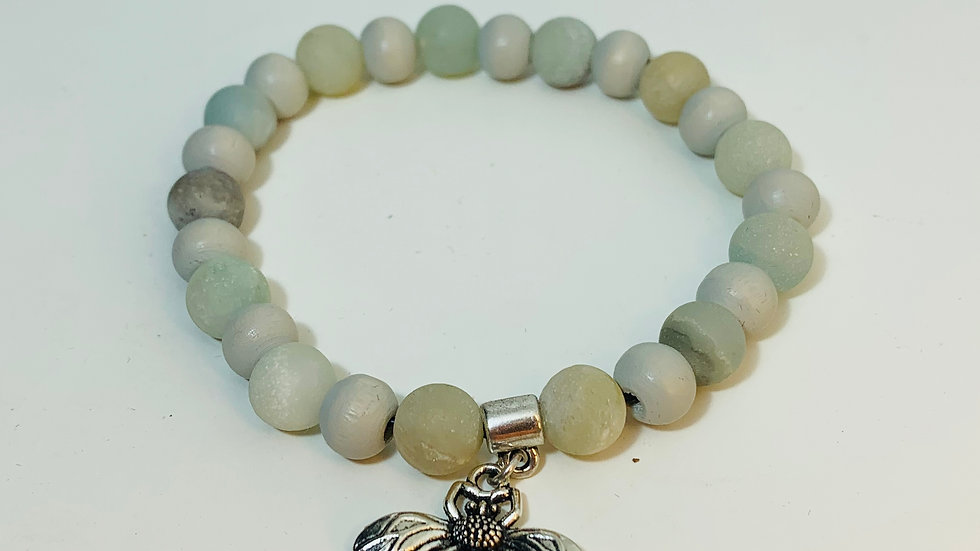 Aventurine Stone Stretch Bracelet with Silver Bee Charm
