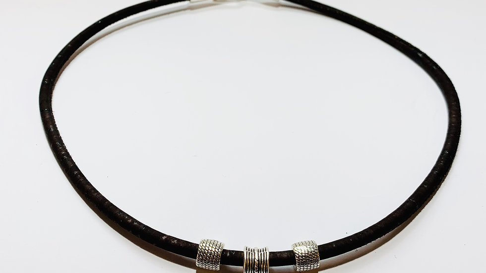 Dark Brown Natural Cork Necklace with Deco Sliders and Strong Hook Clasp