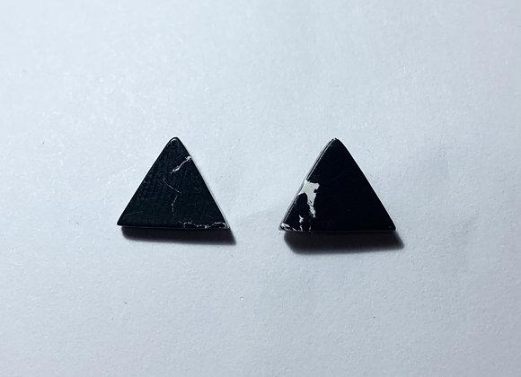 Resin Black Marble Effect Triangle Earrings