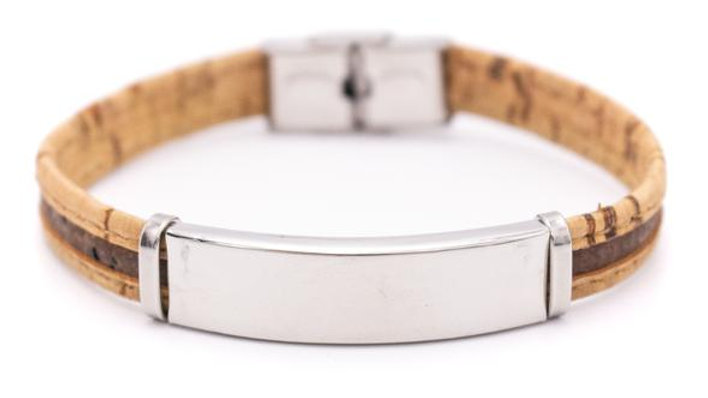 Handmade natural cork bracelet with stainless steel fittings