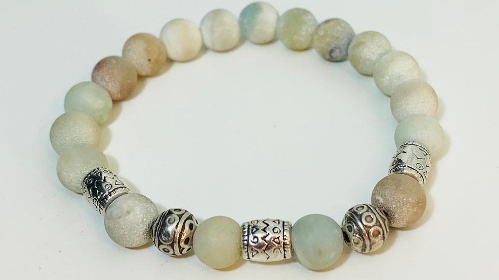 Aventurine Stone and Silver Deco Bead Stretch Bracelet