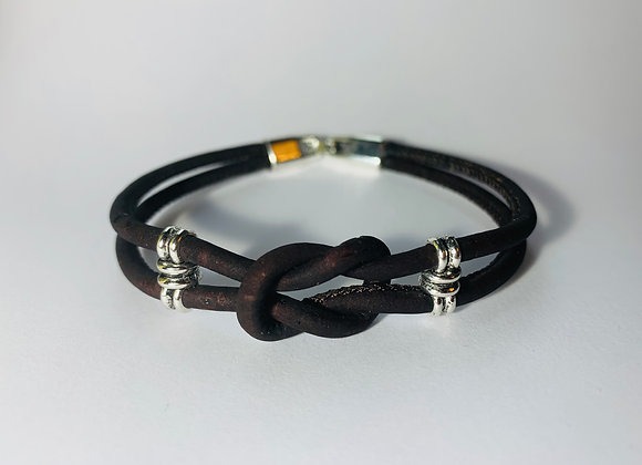 Dark Brown Natural Double Cork Bracelet with Infinity Knot and Silver Sliders