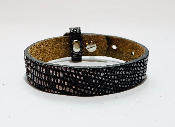 Adjustable Brown Patterned Leather Bracelet