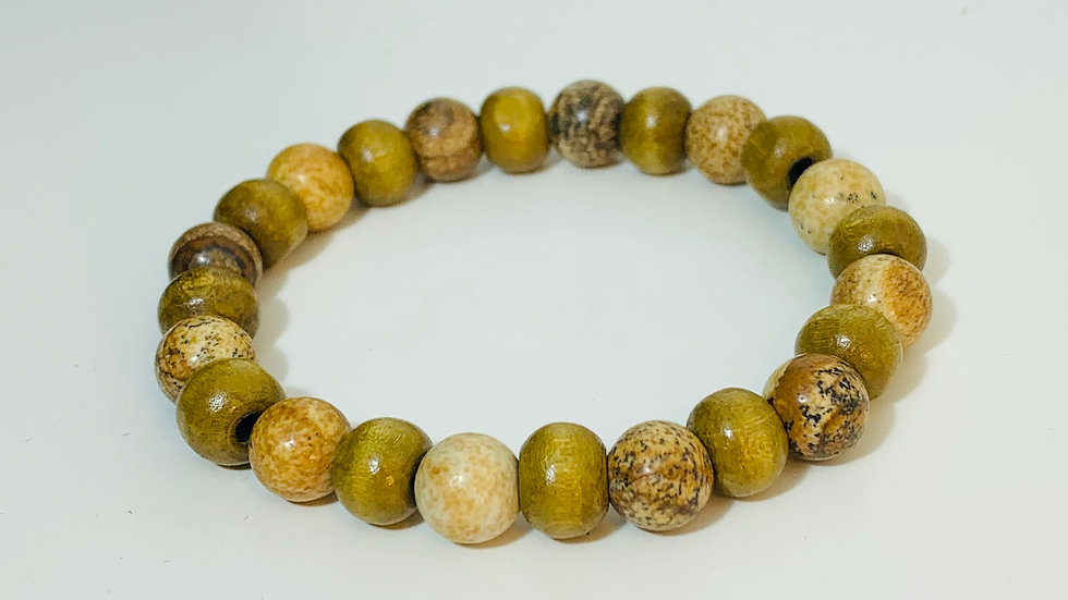 Natural Wood and Agate Stone Bead Stretch Bracelet