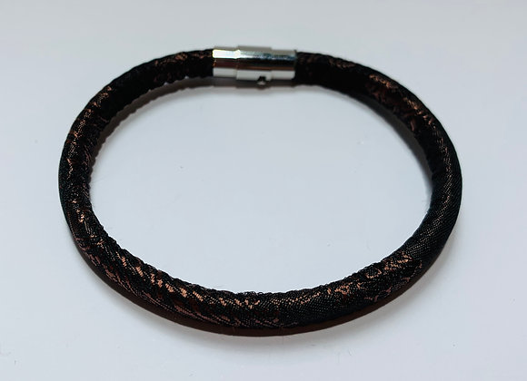 Brown Stitched Trendy Cord Bracelet with Stainless Steel Clas