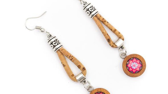 Cork Earrings with round ceramic tile on wood