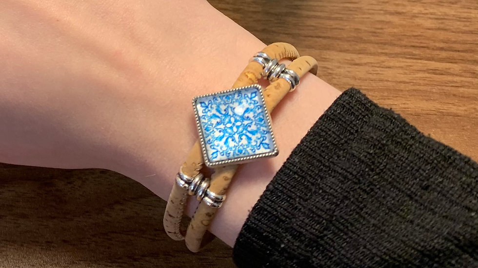 Natural Cork Double Cord Bracelet with Blue Portuguese Tile Slider
