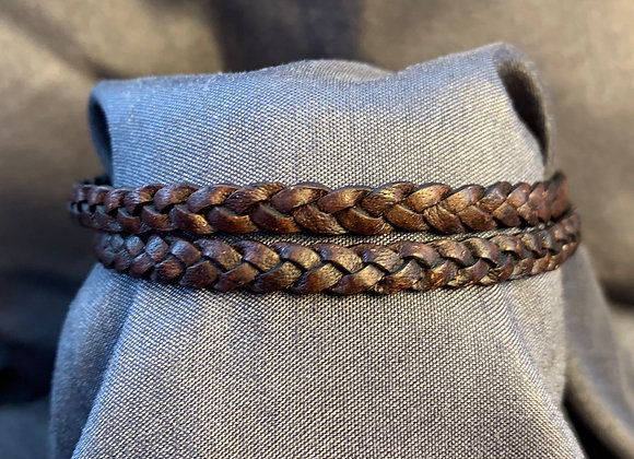 Double Strand Braided Brown Leather Bracelet with Stainless Steel Clasp