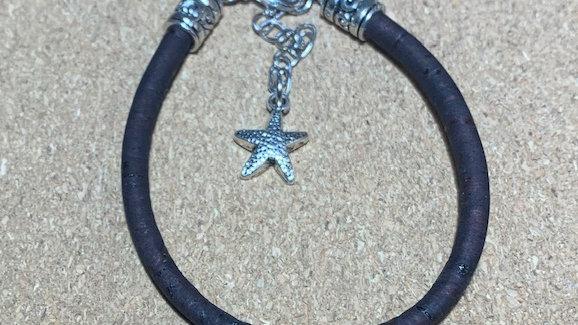 Natural Black Cork Bracelet with Star Charm