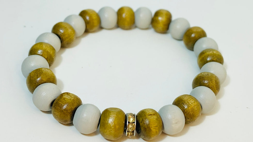 Two Colour Wood Bead and Stretch Bracelet