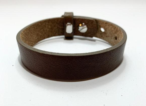 Adjustable Earth Brown Leather Bracelet