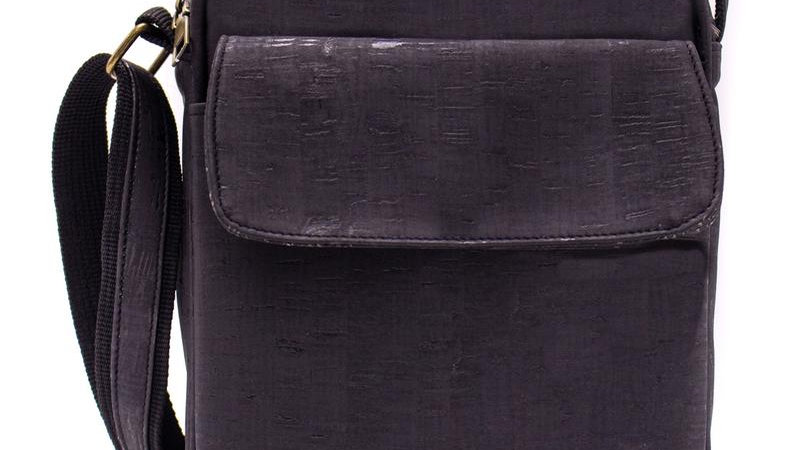 Mens Black Natural Cork Messenger Cross Body Bag