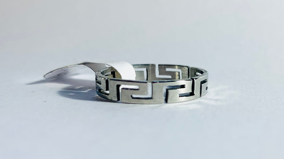 Narrow Stainless Steel Geometric Pattern Ring