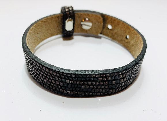Adjustable Black Patterned Leather Bracelet