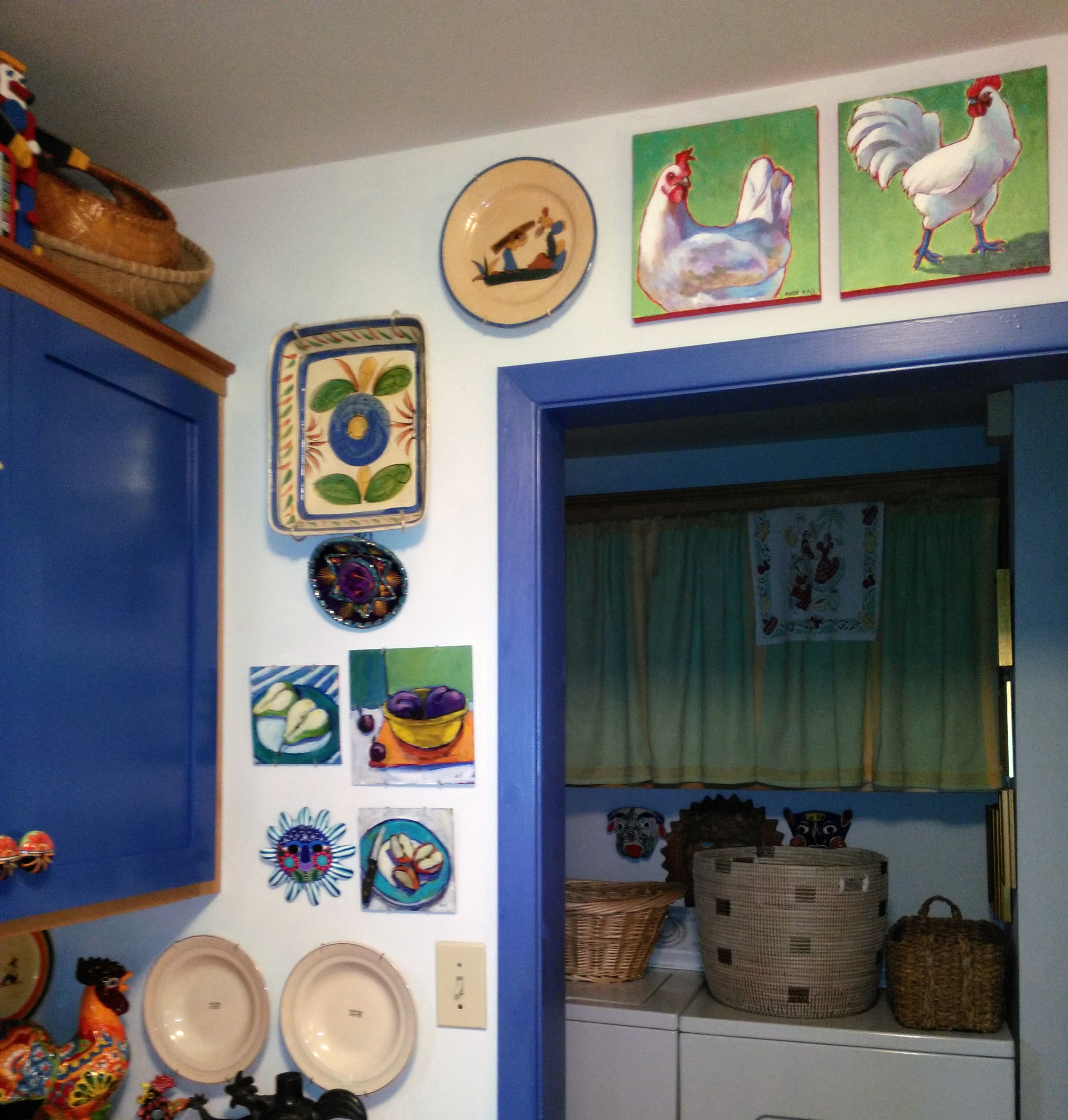 blue folk art  kitchen chickens