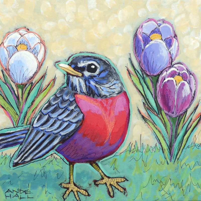 ROBIN AND CROCUSES