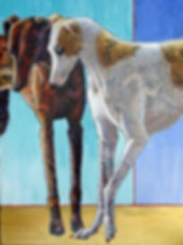 Ande Hall Art painting of 2 greyhounds