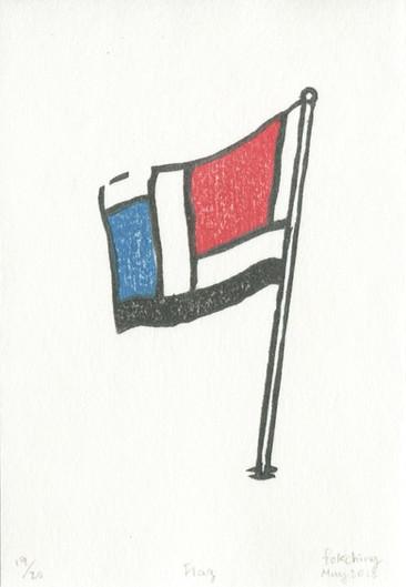 """Flag"", 2018, water-based woodcut"