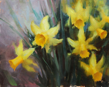 daffodils oil painting class flowers art online workshop
