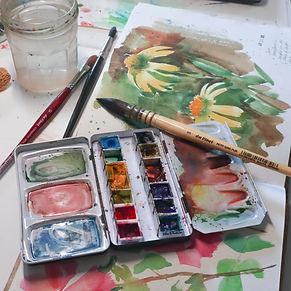 sketchbook watercoor painting online art workshop