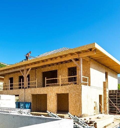 Chantier Maison ossature bois en cours de construction