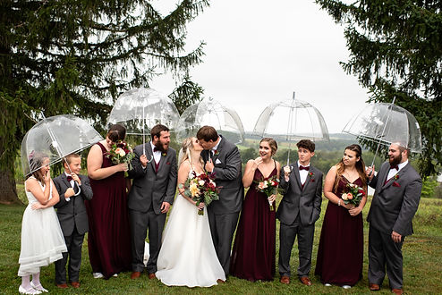 Bridal Party during a moody, rainy wedding in Central Pennsylvania