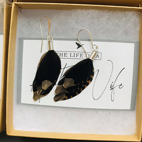 Silver Tipped Woodcock Earrings