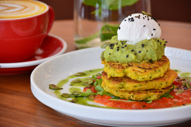 pouched egg on sweet potato fritters and
