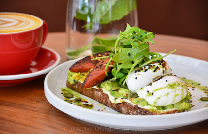 Pouched egg, Chorizo and Avocado on Toas