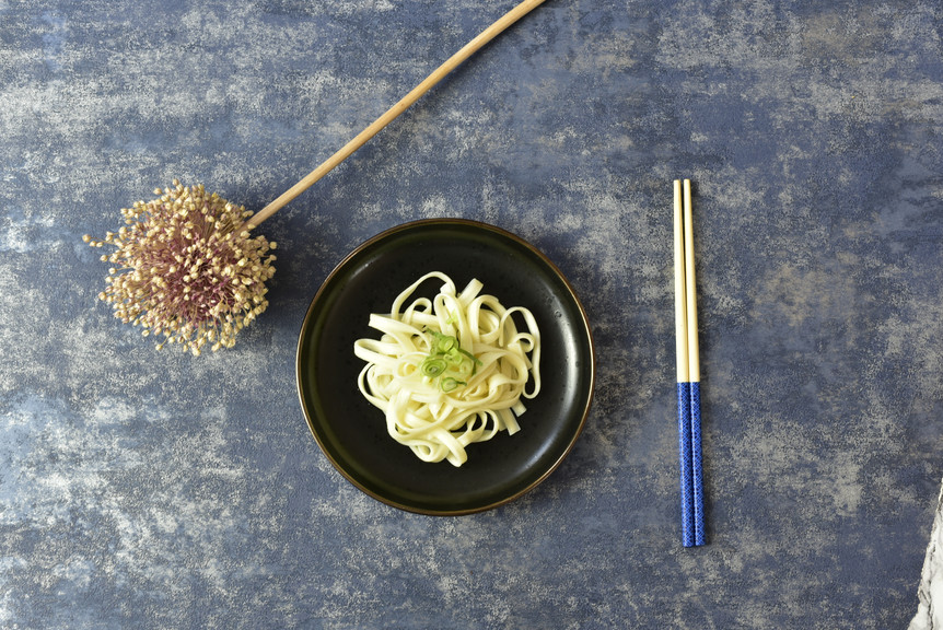 Japanese Udon Noodles and chopsticks
