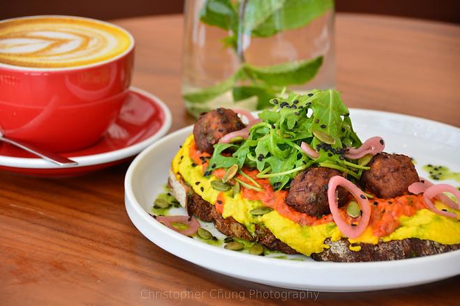 Falafel, scramble egg on sour dough toas