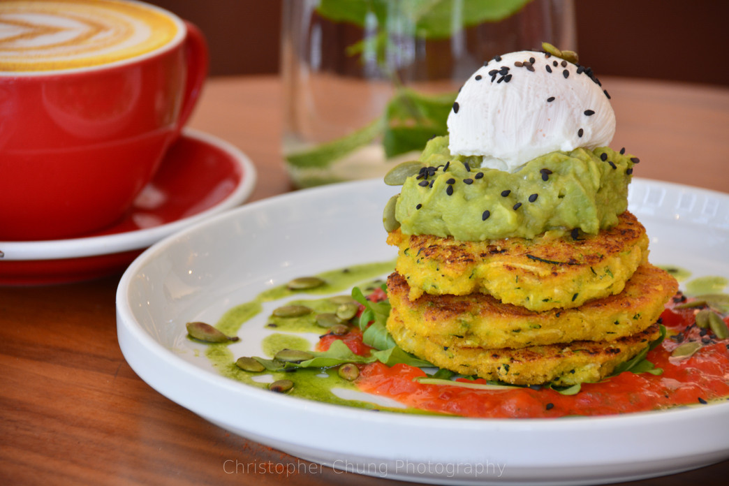 Vegetarian Fritter, guacamole and poache
