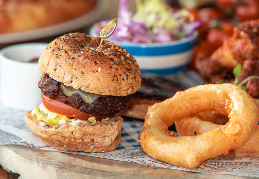 Mini Burger and onion rings in a Platter